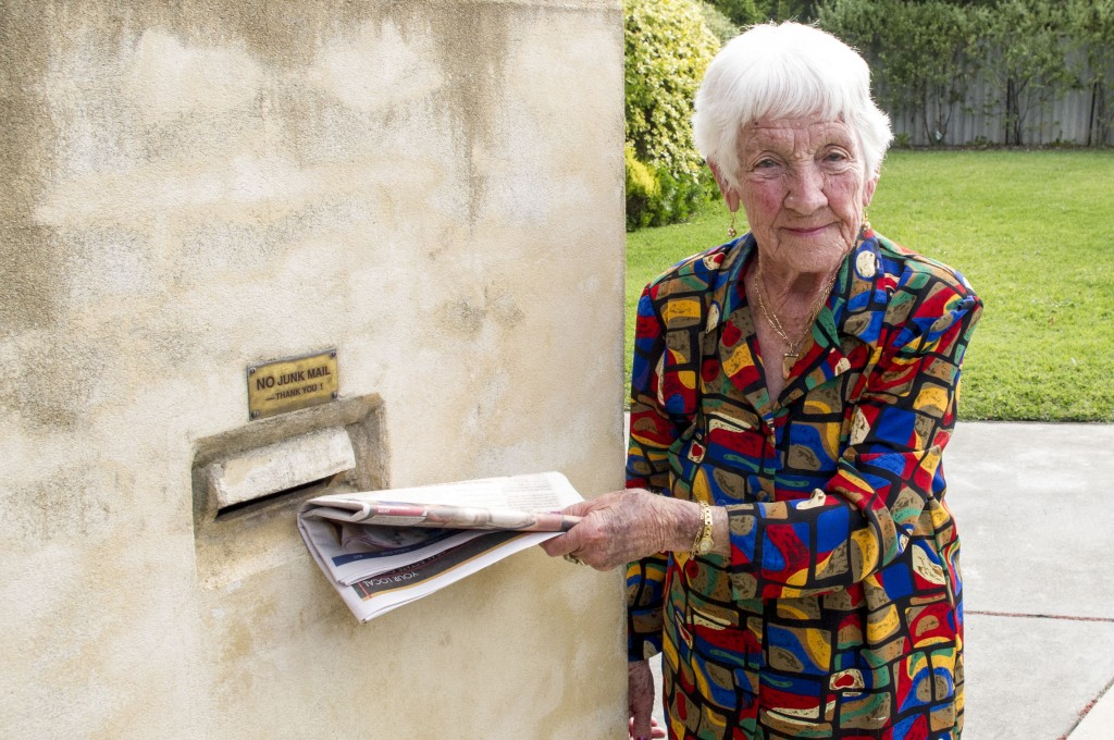 101-year-old St Mary's Cathdral parishioner, Sheelah Rudman, still lives an active life which includes delivering papers in her local neighbourhood. PHOTO: Mark Reidy