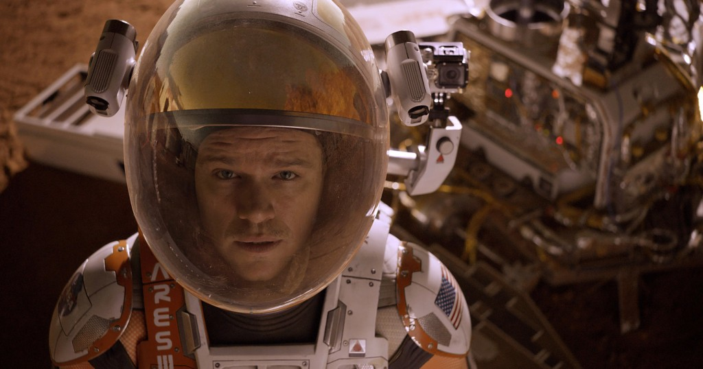 Matt Damon stars in a scene from the movie The Martian. Photo: CNS/courtesy Twentieth Century Fox
