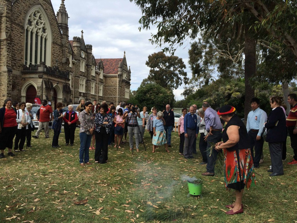 Noongar Elder 'Aunty' Marie Taylor facilitates a smoking ceremony and Welcome to Country, last weekend, at the Redemptorist Monastery Church in North Perth. PHOTO: Supplied