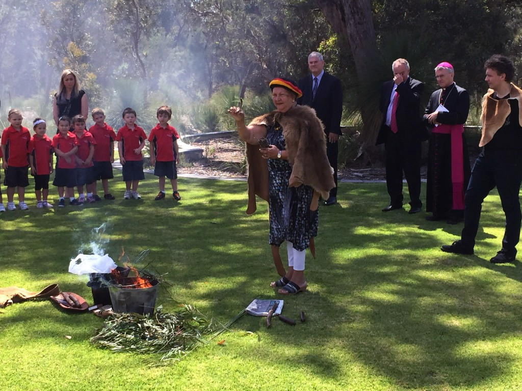 Noongar Elder, Marie Taylor, at the opening of Hammond Park Catholic Primary earlier this year. Photo: Jamie O'Brien