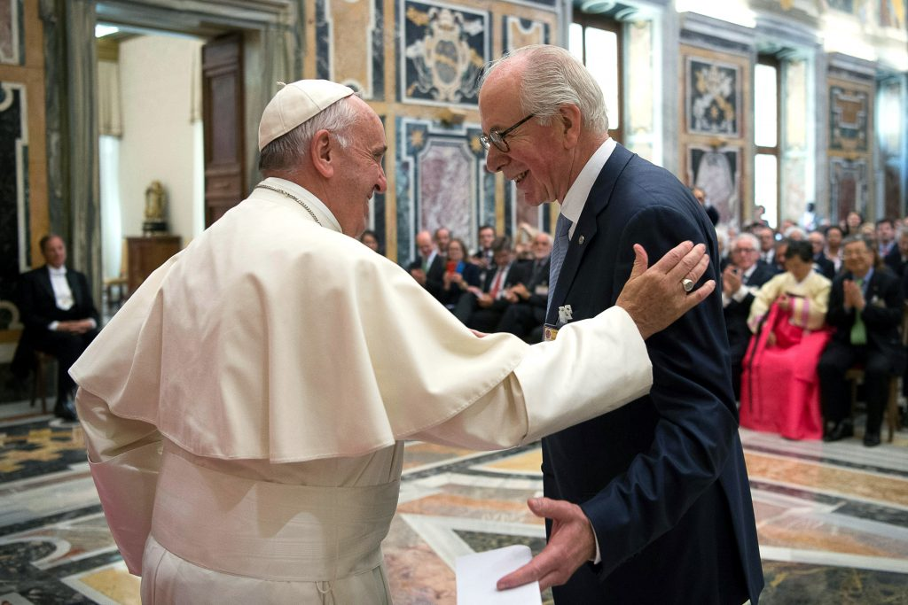 Pope Francis greets Domingo Sugranyes Bickel, president of the Centesimus Annus Pro Pontifice Foundation, during an audience with business leaders and Catholic social teaching experts at the Vatican on 13 May. Those at the audience were attending a conference sponsored by the foundation. Photo: NS/L'Osservatore Romano