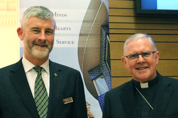 Brisbane Archbishop Mark Coleridge with Father Shane Mackinlay, Associate Professor at Melbourne's Catholic Theological College. Image: Supplied.