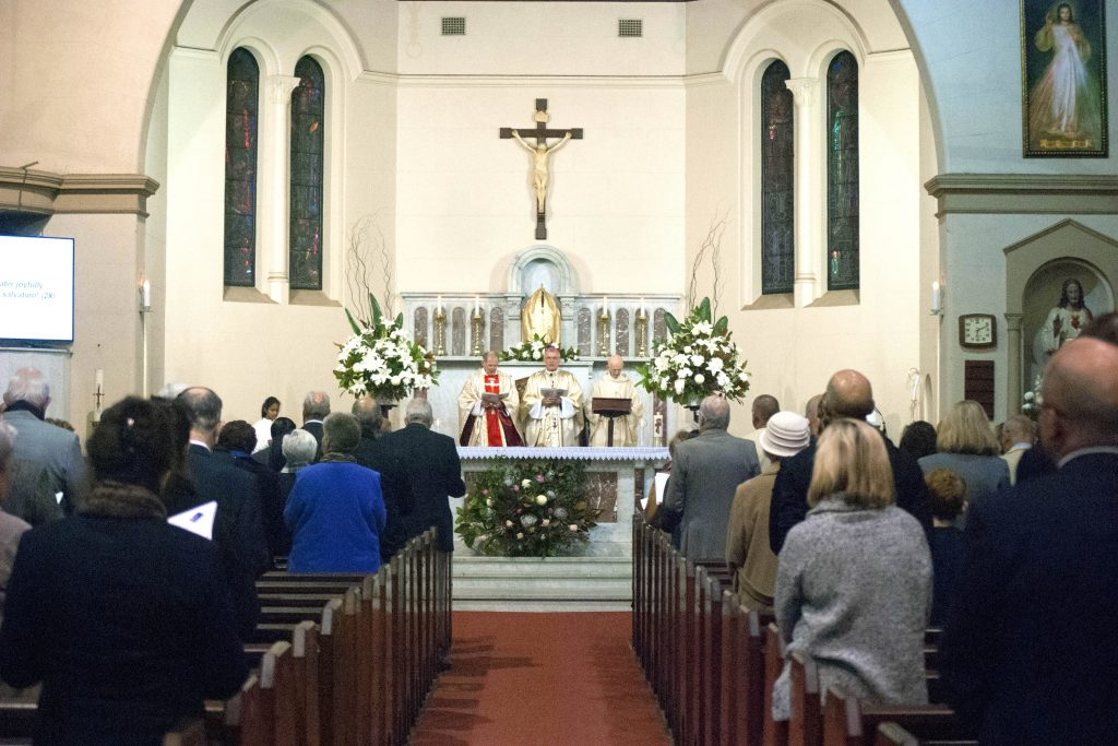 St Columba Church was packed with parishioners for the Mass, which was celebrated by Parish Priest, Monsignor Brian O'Loughlin, Archbishop Timothy Costelloe SDB and former parish priest, Father Michael Casey. Photo: Rachel Curry