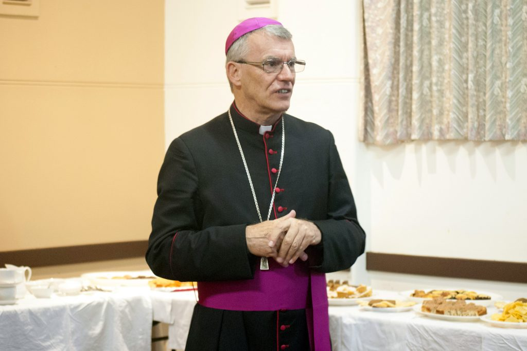Archbishop Timothy Costelloe SDB addresses the South Perth parish community at the reception following the Mass. Photo: Rachel Curry