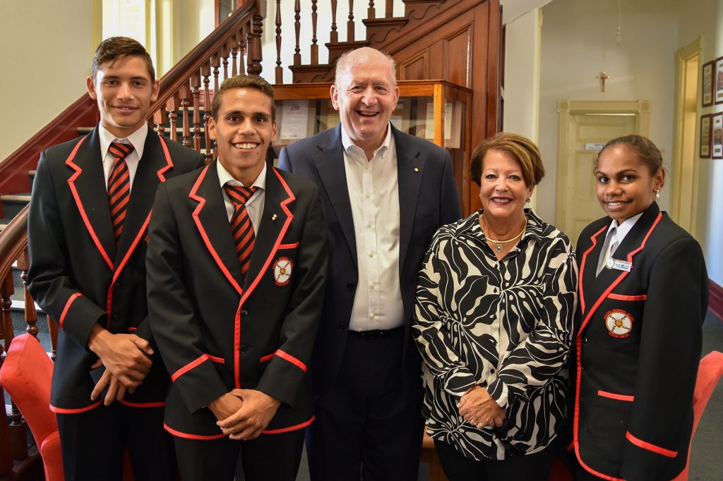 Clontarf Aboriginal College Head Boy, Isaac Mann, with fellow student, Drew Blurton; His Excellency, the Governor General Sir Peter Cosgrove; his wife, Lady Cosgrove, and Head Girl, Moesha McCormack. Photo: Supplied