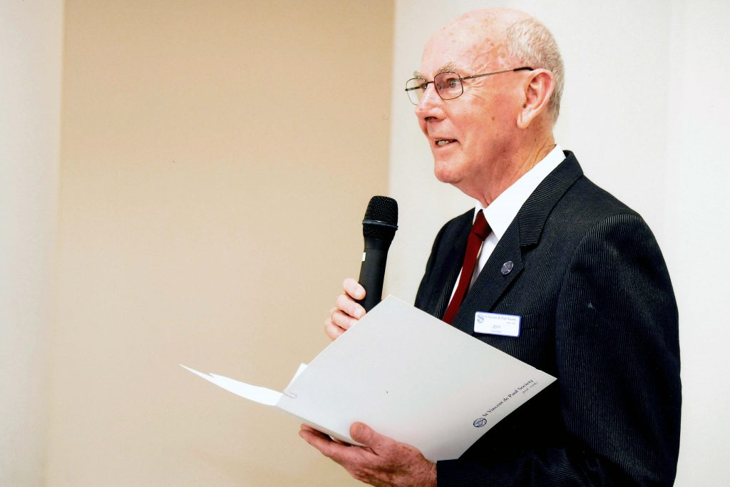 Jeff Trew, pictured in his former role as St Vincent de Paul Society State President, has been remembered as a man who worked tirelessly for his family, parish and community. Photo: Supplied