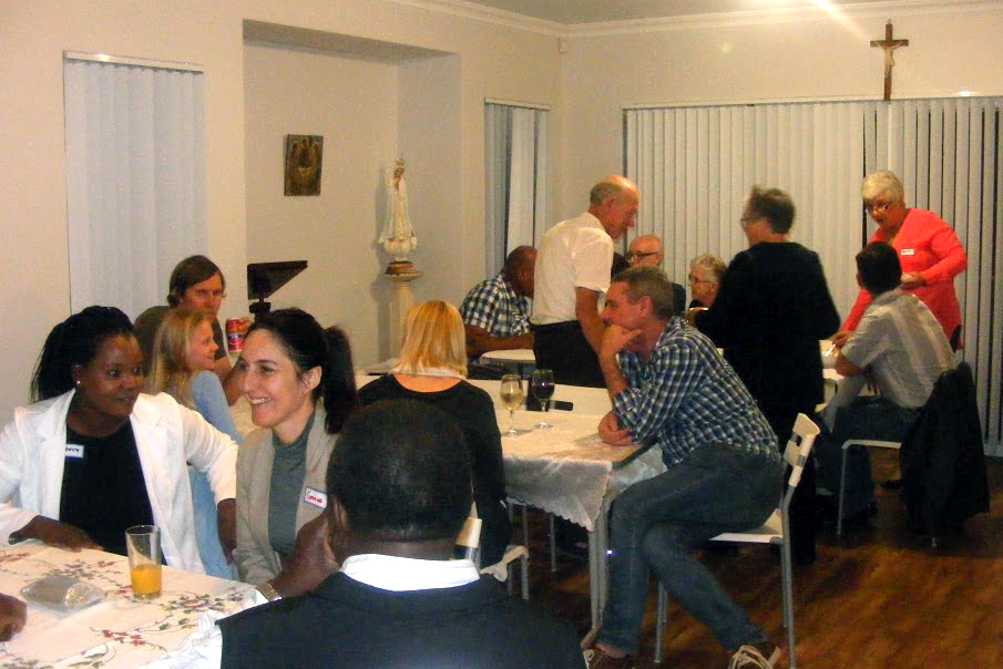 Attendees at the recent Bethany Meals event in Baldivis sharing a meal at Fr Aldous' Baldivis presbytery. Photo: Supplied
