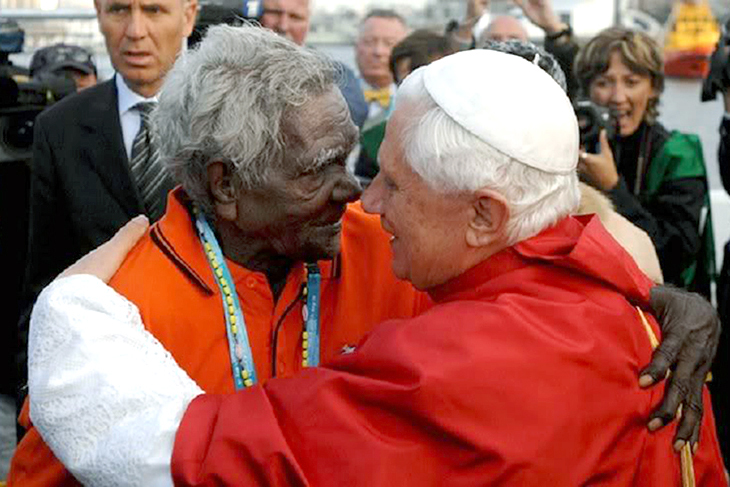 Pope Benedict and Boniface locked in embrace at the World Youth Day in Sydney on 17 July 2008 as the Pope was welcomed to Bangaroo. Photo: Supplied