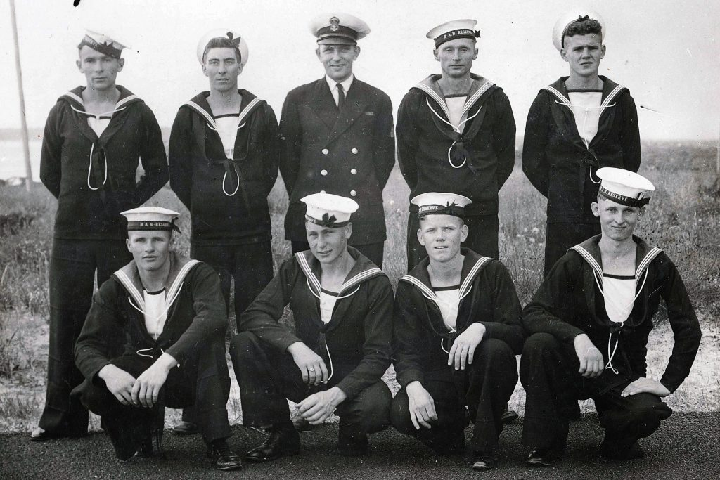 Tom Fisher, bottom right, was a member of the Royal Australian Navy Reserve when World War II was declared in 1939, and went on take part in some of its toughest naval battles. Photo: Supplied