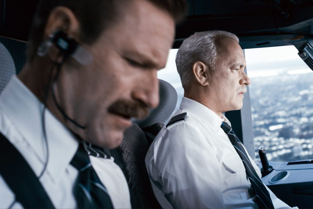 Arron Eckhart and Tom Hanks star in a scene from the movie Sully. Photo: CNS/Warner Bros