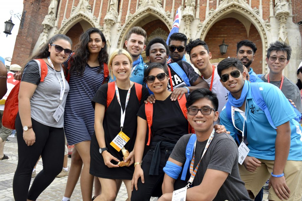 Monique Loos (second from left) and Vanessa Tarca (third from left) were part of a 13-person group from Good Shepherd Lockridge Parish that travelled to World Youth Day in Poland in July. Photo: Feby Plando