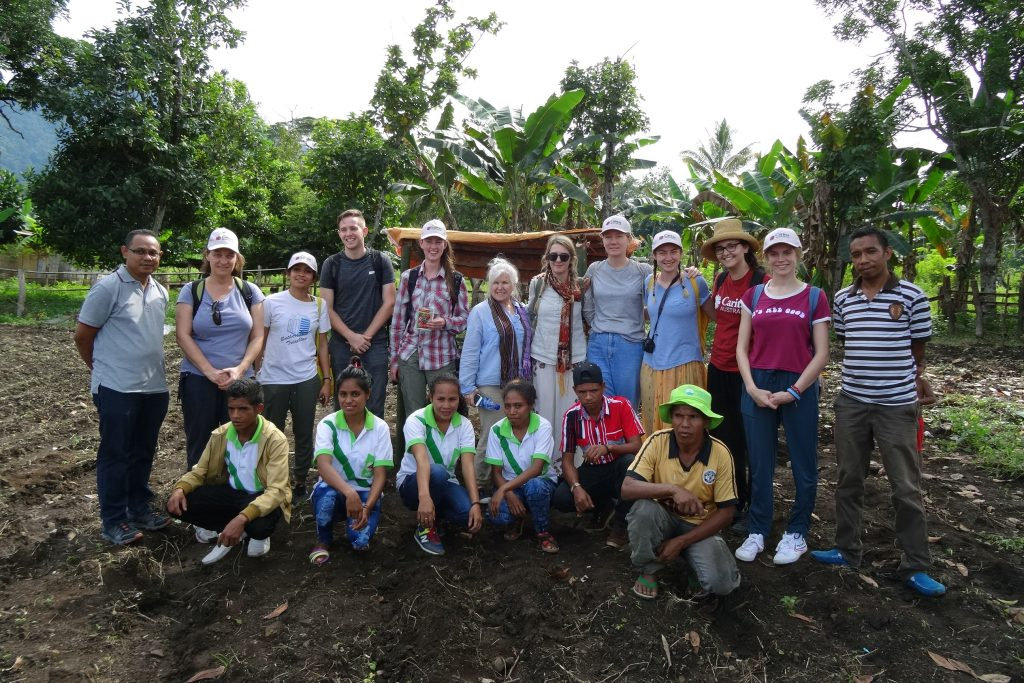 Notre Dame students and Caritas Australia representatives at a sustainable agriculture centre in Same. Photo: Supplied