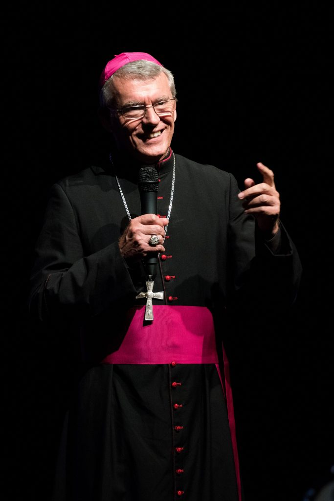 Perth Archbishop Timothy Costelloe reunited with World Youth Day pilgrims and set them a new challenge to enrich their faith at a special Ignite Live event on Friday, 2 September. Photo: Thomas Lee
