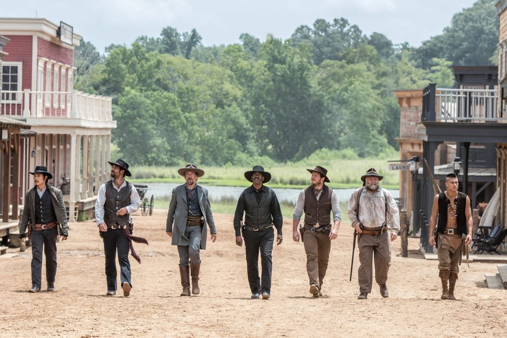 Byung-hun Lee, Manuel Garcia-Rulfo, Ethan Hawke, Denzel Washington, Chris Pratt, Vincent D'Onofrio and Martin Sensmeier star in a scene from the movie The Magnificent Seven. Photo: CNS/MGM