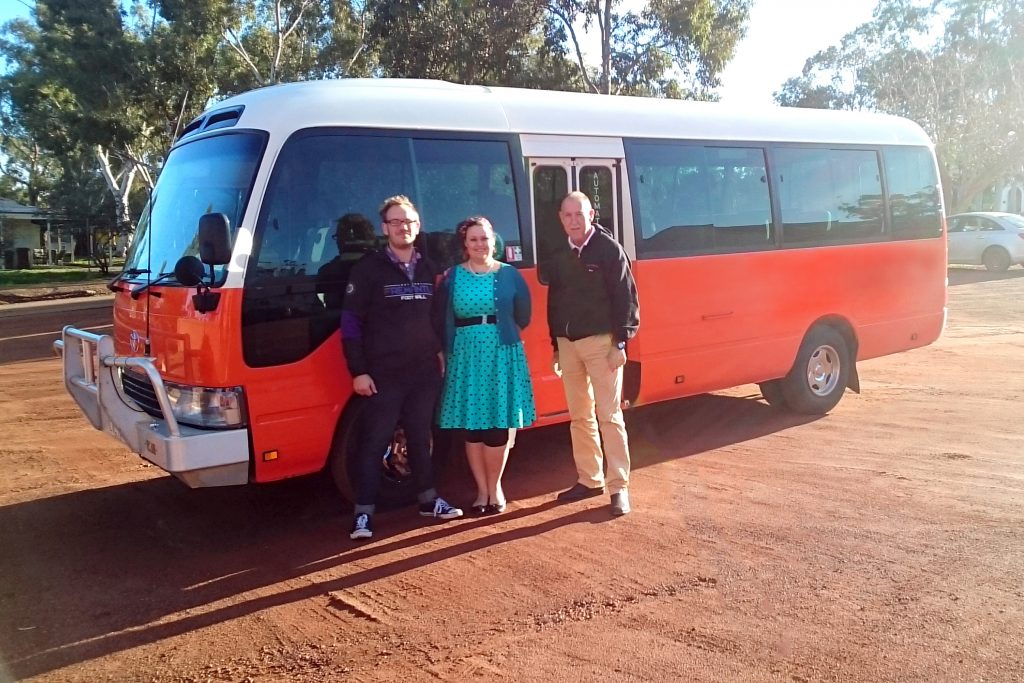Mark O'Brien (right), has started running day tours to New Norcia to raise awareness of Australia's only monastic town. He is pictured with tour guests Adam and Joleen Brown. Photo: Supplied