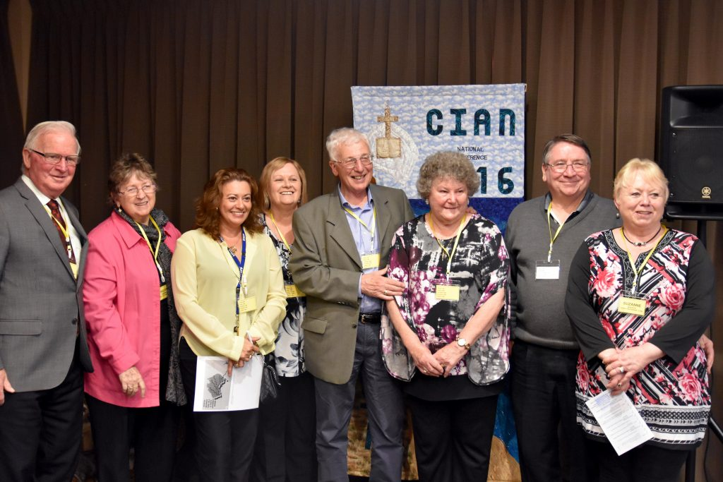 (L-R) RCIA organising committee Pat McManus, Helen Medina, Karen Hart, Sue Larsen, Roy Smith, Kathleen Smith, Stewart Bazzica and Suzanne Bazzica at the 2016 RCIA National Conference. Photo: Daniele Foti-Cuzzola