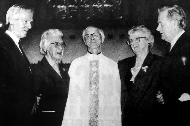 On the day of his ordination to the priesthood, Fr St John was reunited with his siblings after 55 years: (L-R) Michael St. John, Joan Simpson, Fr. Peter St. John, Evelyn Reidy and  Paul St John. Photo: Supplied
