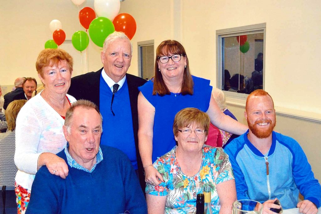 Fr Laurence Murphy was joined by friends and family for the special occasion. He is pictured here with (Back row) Anne Hedderman, Frances Sheehy and (front row, L-R) Peter Sheehey, Sister Margaret Brogan and his grand-nephew, Jason Robinsons. Photo: Supplied