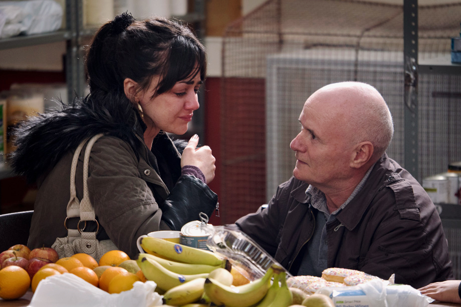 Daniel (Dave Johns), consoles his friend Katie (Hayley Squires), in a poignant scene in the Palme d'Or winning film I, Daniel Blake. Image: Supplied
