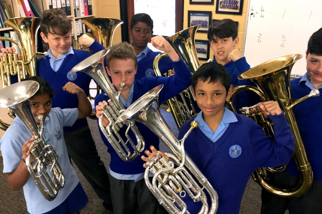 Orana Catholic Primary School won the Zenith Award for the first time this year at the Performing Arts Festival for Catholic Schools, with participants including those in the school's low brass ensemble. Photo: Supplied