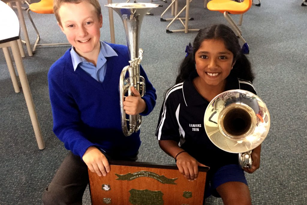 Brass duo Abigail Carlos and William Bennion were among the students from Orana Catholic Primary School who took home shields at the Performing Arts Festival for Catholic Schools, where Orana won the Zenith Award for the first time. Photo: Supplied