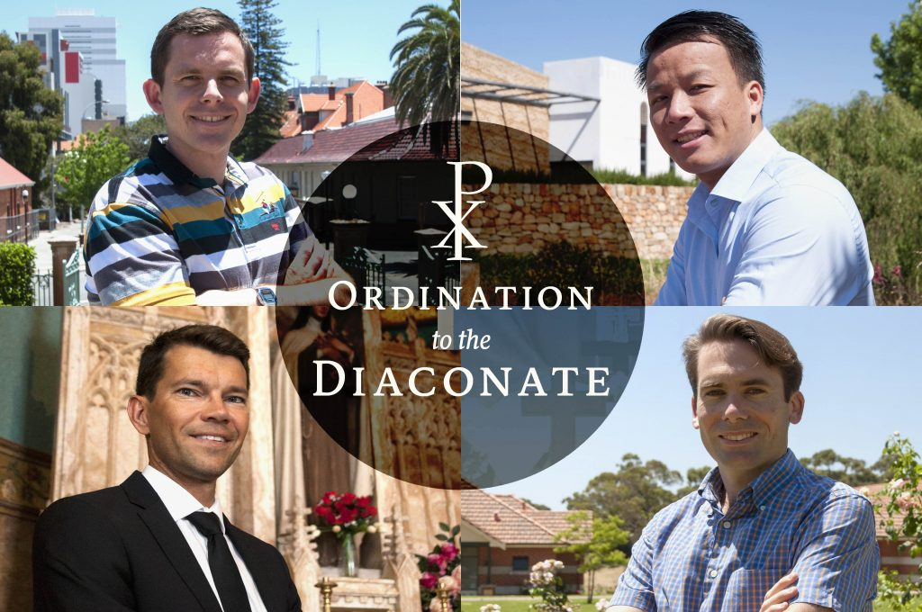 Tung Vu, Joseph Laundy, Mariusz Grzech and Konrad Gagatek will be ordained to the diaconate by Archbishop Timothy Costelloe at St Mary's Cathedral in what is set to be a momentous occasion eagerly awaited by the Archdiocese of Perth. Photos: Marco Ceccarelli Artwork: Feby Plando