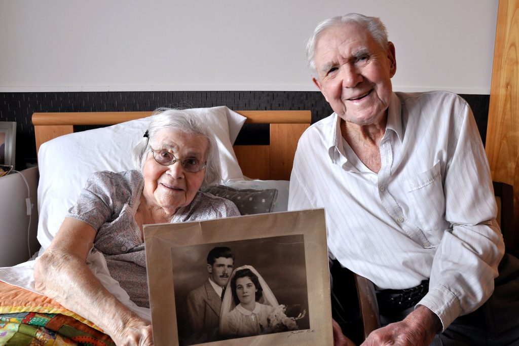 Taking the good with the bad and a commitment to staying in love are the keys to a successful marriage, according to Mercy Place Mont Clare residents Katherine and James McMahon, who recently celebrated their 70th wedding anniversary. Photo: Supplied
