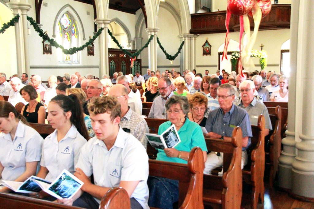 Newman College students participate in Bicentenary celebrations for the Marist Brothers at S Joseph's Church in Subiaco on January 2. Photo: Supplied