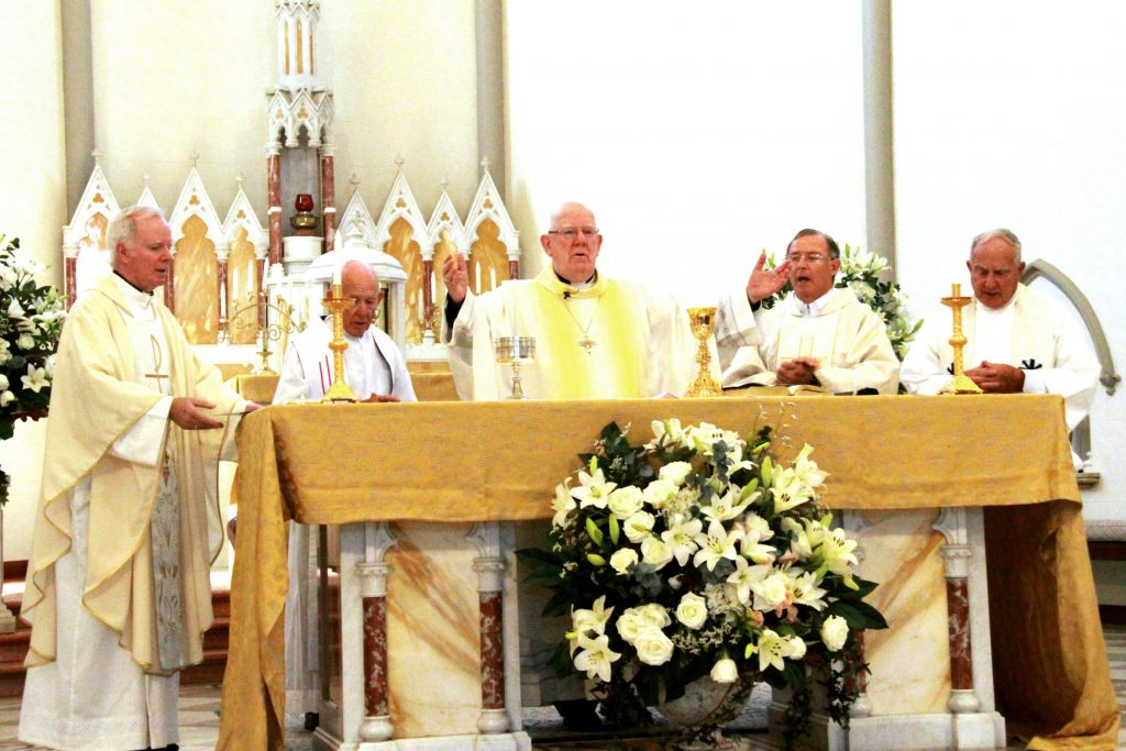 Bishop of Bunbury Gerard Holohan (centre) celebrates Mass to commemorate the Bicentenary of the Marist Brothers, with (left to right) Subiaco Parish Priest Father Joseph Walsh, Baldivis Parish Priest Fr Geoff Aldous, Vicar General Fr Peter Whitely and retired priest Fr Pat Rooney. Photo: Supplied