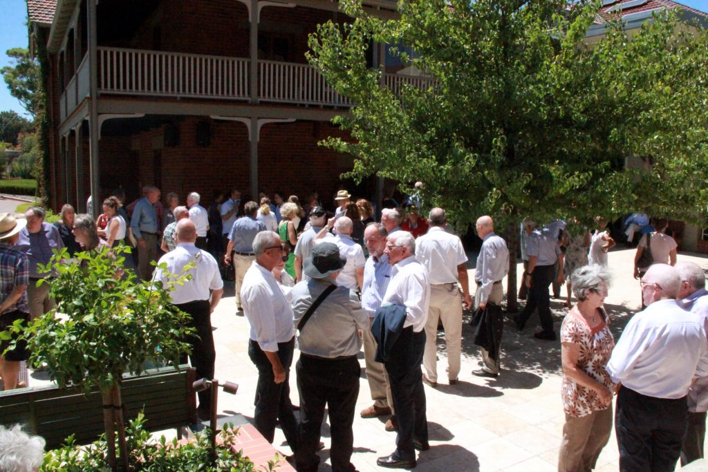 Attendees at the celebrations gather on the piazza adjacent to St Joseph's Church in Subiaco for morning tea after the Mass. Photo: Supplied
