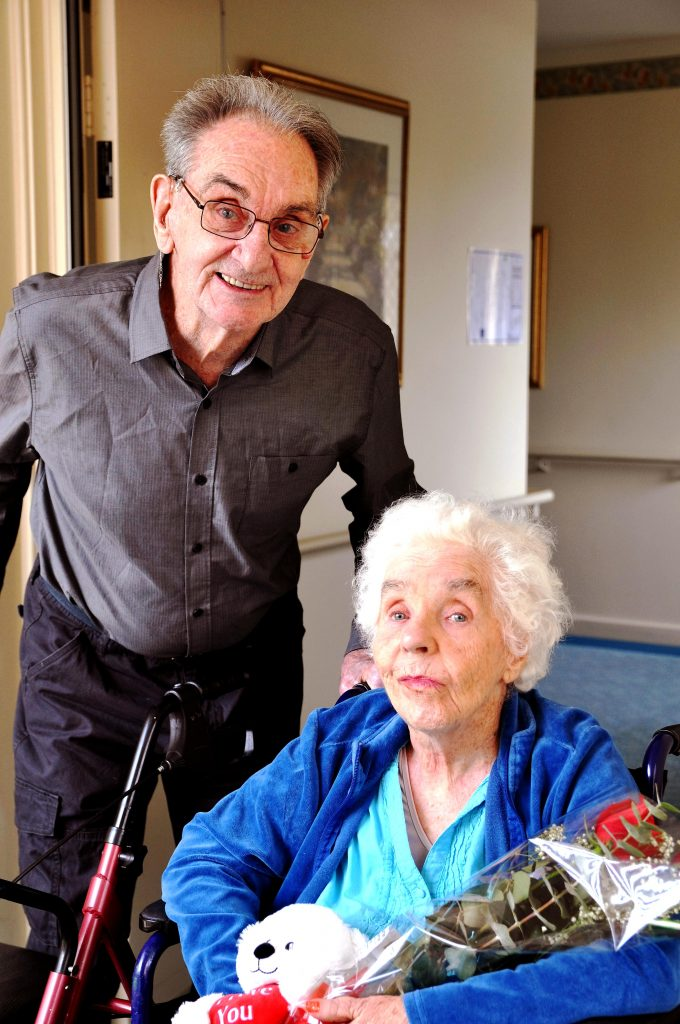 After more than 60 years of marriage, the love lives on for Mercy Place Mandurah's residents Morris and Sheena Richmond, who are 85 and 83 years of age respectively. Photo: Supplied