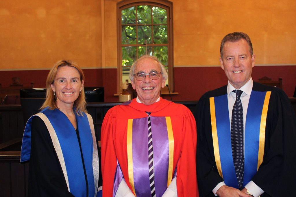 Notre Dame conferred a Doctor of Laws to the Hon Neville Owen for his tireless and faithful commitment to the legal profession, most notably as the Senior Judge of the Court of Appeal of the WA Supreme Court, at its Graduation Ceremony on Wednesday 14 December 2016. Photo: Supplied
