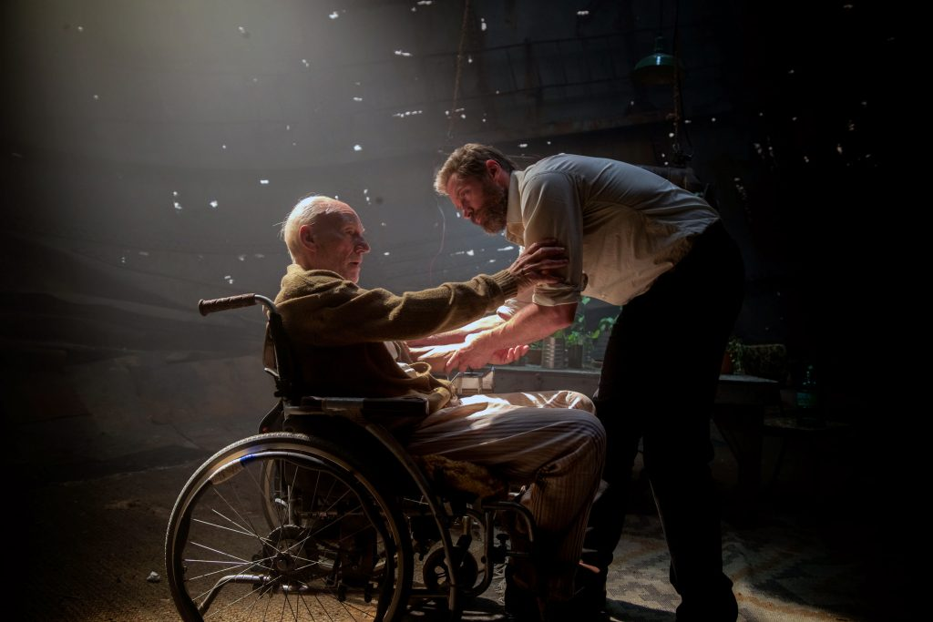 "Patrick Stewart and Hugh Jackman star in a scene from the movie ""Logan."" Photo: CNS photo/Fox"
