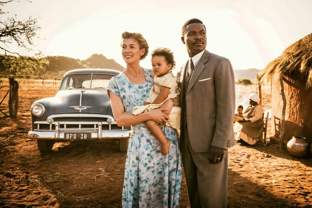 Rosamund Pike, Madison Manowe and David Oyelowo star in a scene from the movie A United Kingdom. Photo: CNS/Fox