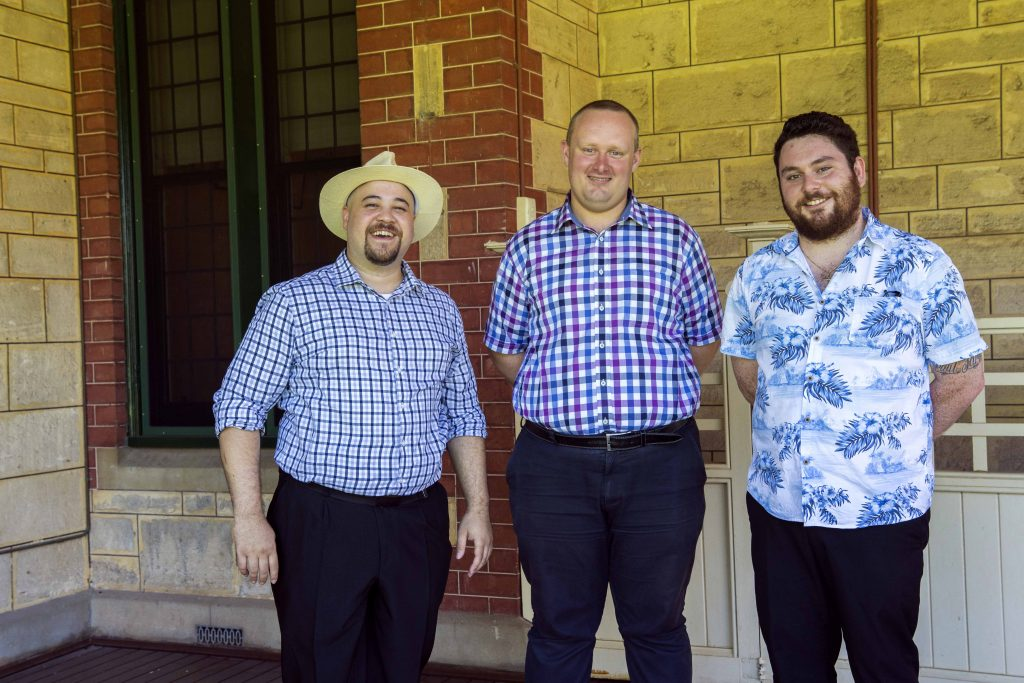 Left to Right – Adam Quinlivan, Matthew Tloczek and Nathan Barrie have recently been welcomed into St Charles Seminary on 22 February. Photo: Natashya Fernandez