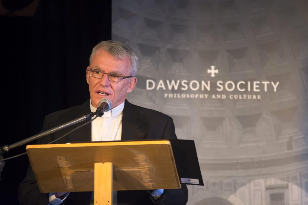 Archbishop Timothy Costelloe gives his Address on Pope Francis' Apostolic Exhortation Amoris Laetitia on Tuesday 28 March for the Dawson Society. Photo: Josh Low