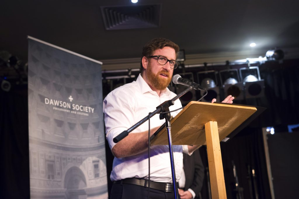 Dawson Society Co-ordinator Tom Gourley speaks to the audience at the conclusion of Archbishop Timothy Costelloe's Address on Pope Francis' Apostolic Exhortation, Amoris Laetitia on Tuesday 28 March. Photo: Josh Low.