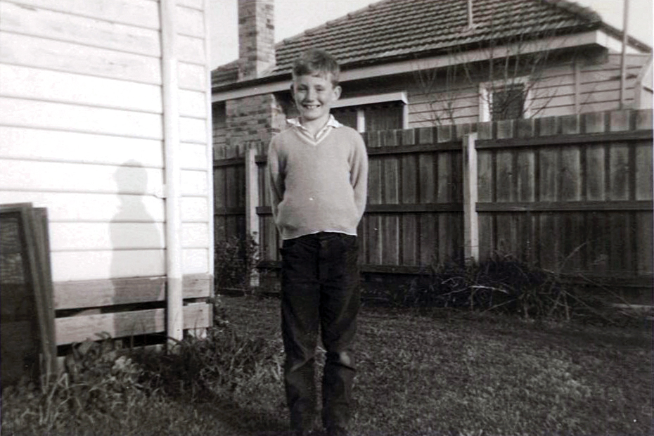 Archbishop Costelloe as a young boy at home in Melbourne, 1963. Photo: Supplied