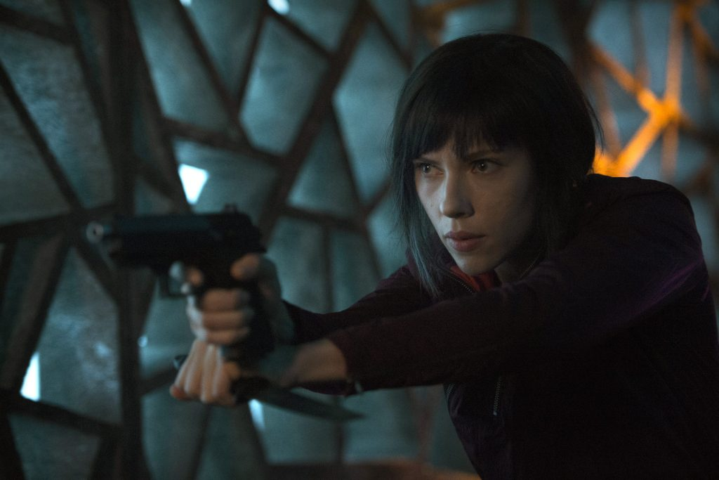 Scarlett Johansson stars in a scene from the movie Ghost in the Shell. Photo: CNS/Paramount Pictures