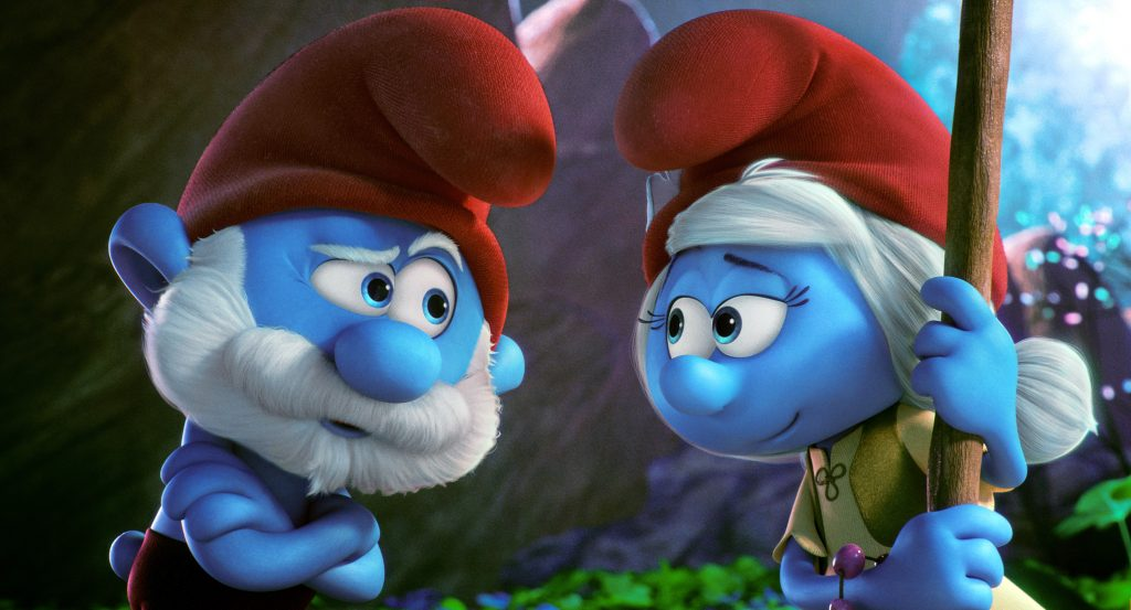 Papa Smurf, voiced by Mandy Patinkin, and Smurfwillow, voiced by Julia Roberts, appear in the animated movie Smurfs: The Lost Village. Photo: CNS/Sony