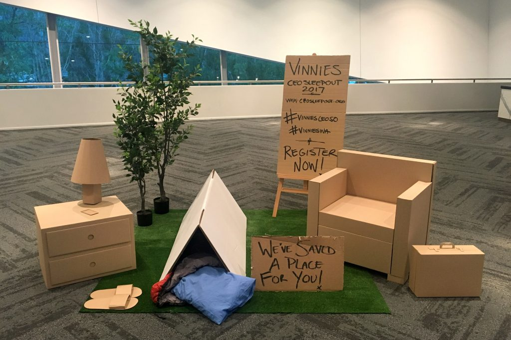 The SVDP campaign was launched on April 6 at the Success and Leadership breakfast at the Perth Convention and Exhibition Centre, alongside a life size visual representation of the campaign's theme of turning a light on homelessness. Photo: Supplied