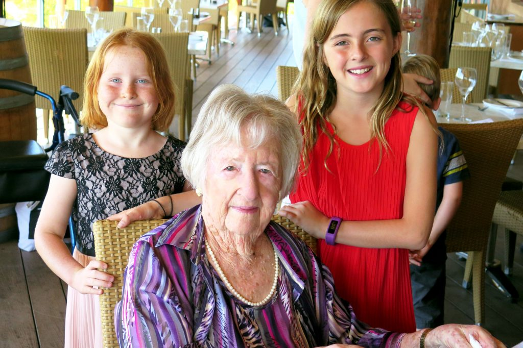 Kathleen Thompson enjoying her 100th Birthday in the Swan Valley with her great grandchildren Zoe Daebritz and Megan Fitt. Photo: Supplied
