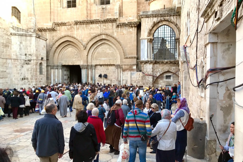 Crowds outside the Church of the Holy Sepulchre in Jerusalem at Easter. Photo: Gemma Thompson