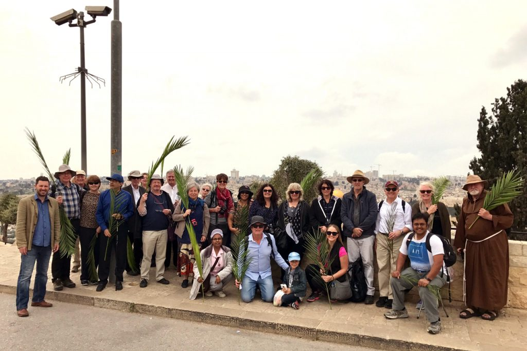 The Tantur group with Perth Auxiliary Bishop Don Sproxton (sixth from left) at the Palm Sunday Procession at the Mount of Olives. Photo: Gemma Thompson