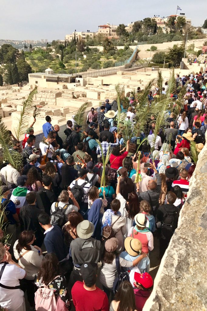 The Palm Sunday Procession at the Mount of Olives. Photo: Gemma Thompson