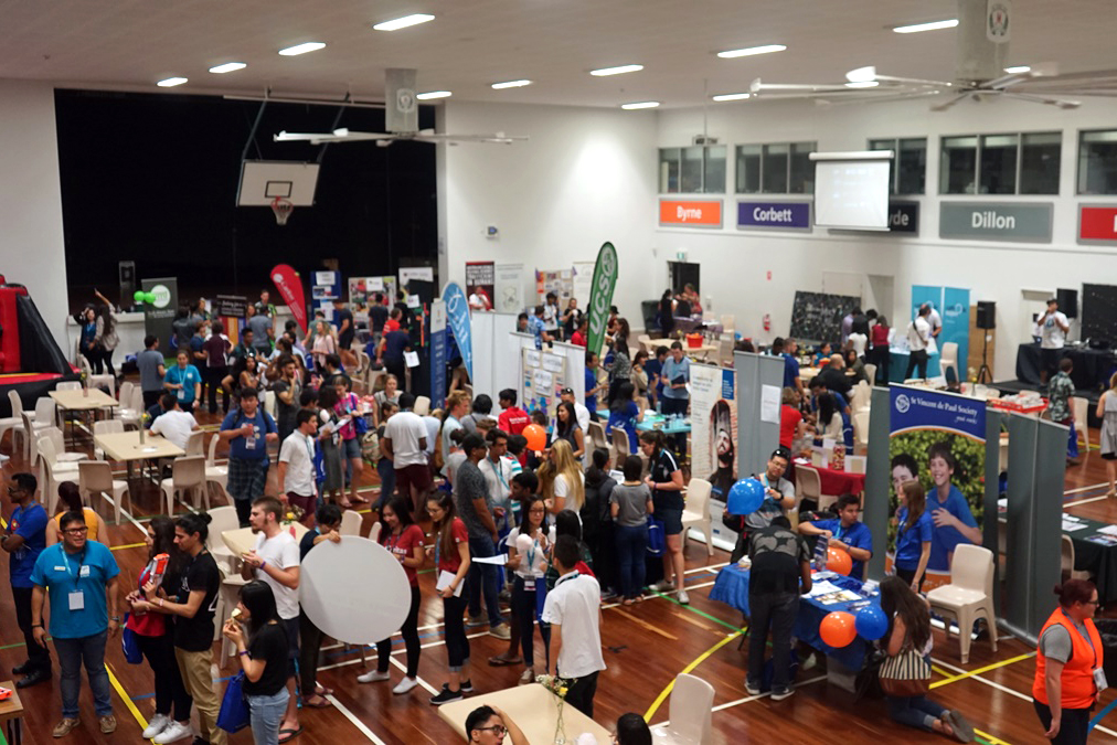 Agencies and movements from all over the Archdiocese of Perth showcase their charisms by running stalls, offering information and engaging with youth. Photo: CYM