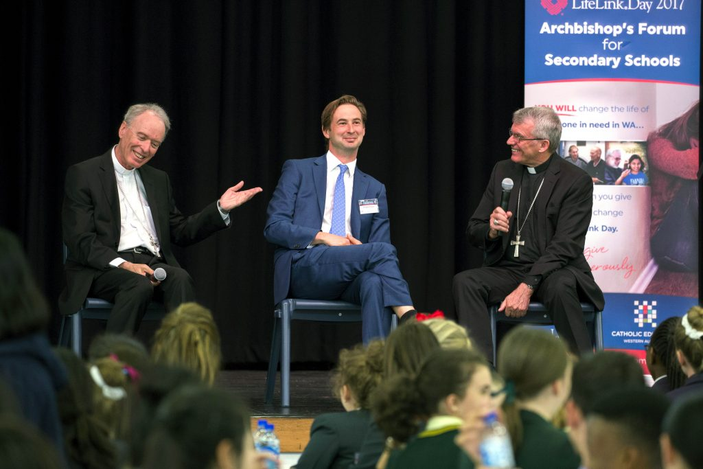 Students also had the opportunity to ask questions to a panel made up of Archbishop Costelloe, Bishop Donald Sproxton and Dr Edward Simons. Photo: Supplied.