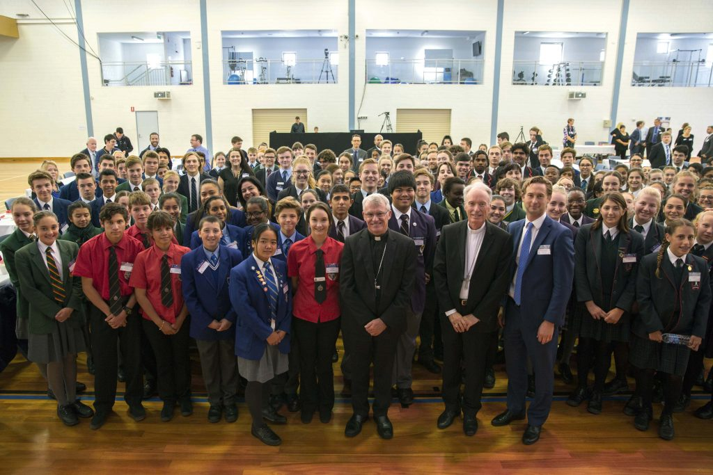 Archbishop Costelloe and Bishop Sproxton are hoping that Catholic schools in the Archdiocese will join together to collectively raise an additional $130,000 this LifeLink Day to help people in need throughout WA. Photo: Ron Tan.