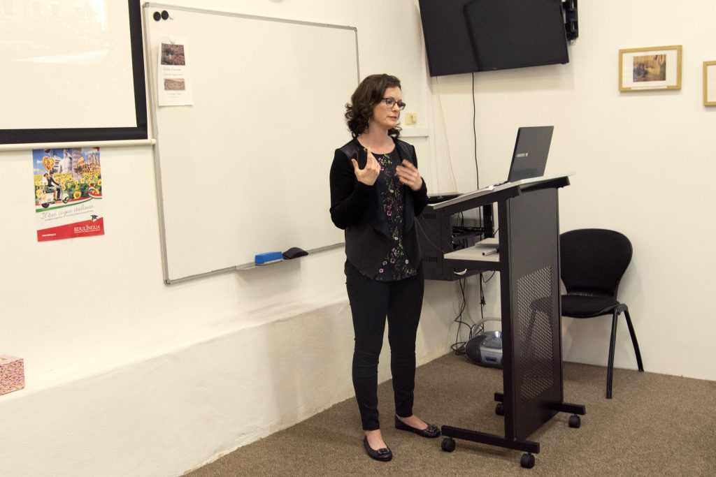 A recent seminar held at the Dante Alighieri Society in North Perth took attendees back in time to 16th century Venice, to learn about the history and culture of the city's Jewish ghetto, with the help of Notre Dame Master's student Helen McCready. Photo: Caroline Smith.