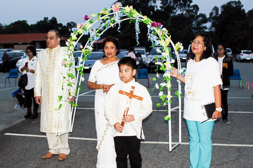 A decorated arch of flowers at the procession for the annual Flores de Mayo festival that is celebrated for the entire month of May at Maida Vale Parish. Photo: Supplied.
